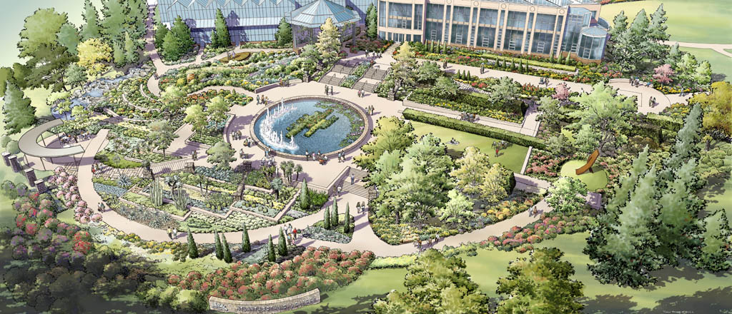 atlanta botanical garden master plan perspective - Garden Design Birds Eye View
